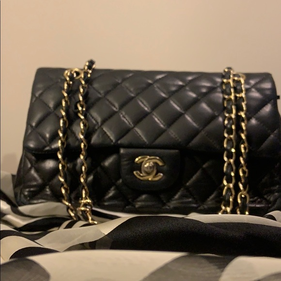CHANEL Handbags - Black and gold Chanel classic medium handbag